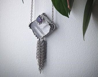 Optical Calcite and Amethyst with hanging chains Pendant Necklace