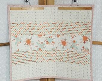 Pink Floral Strip Quilt - Stroller **ON SALE**