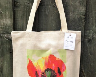 Tote Bag, hand printed, linen-look, washable, original design 'Poppy', bag size 39cm x 36cm, plus handles