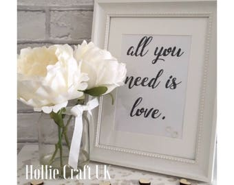 Typography Quote Print: All You Need Is Love