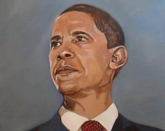 Portrait de Barack Obama, Original Oil Painting by Anne Zamo