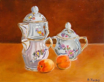 China and apricots, Original Oil Painting by Anne Zamo