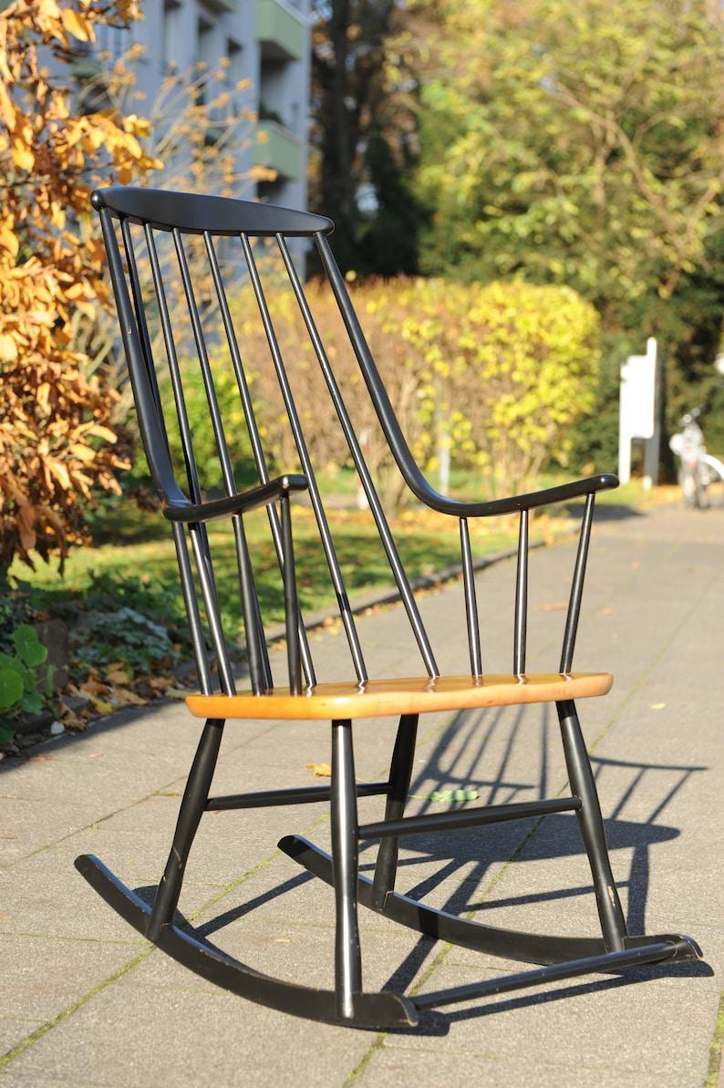 Rocking Chair Grandessa : grand fauteuil à bascule vintage bois et noir