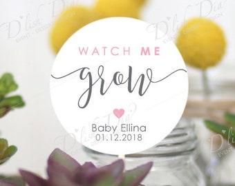 20 custom watch me grow tags,printed watch me grow tags,watch me grow succulent favor tags,custom baby shower tags,printed watch me grow