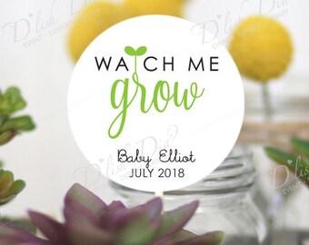 20 custom watch me grow tags,printed watch me grow tags,succulent favor tags,custom baby shower tags,printed watch me grow,printed tags