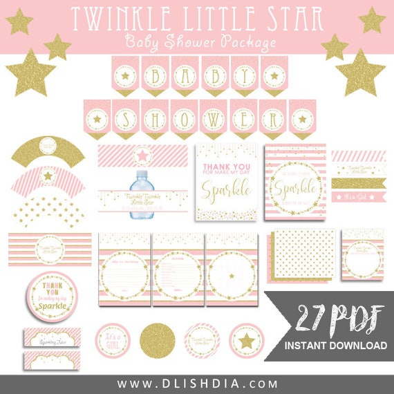 Twinkle Little Star Baby Shower Packagepink And Gold Baby Etsy