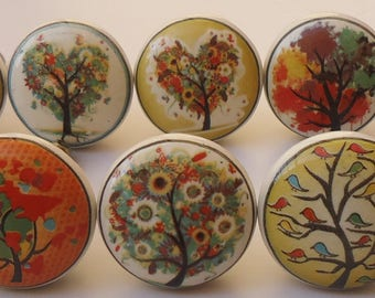 Multi Color Tree Design Ceramic Knobs Kitchen Cabinet Drawer Knobs Hardware  Knobs Handmade Knobs Cabinet Knobs Ceramic Door Knobs