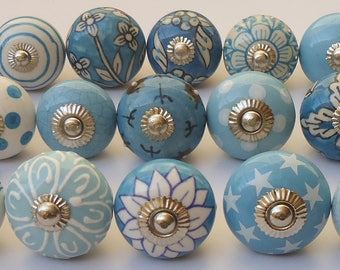 Mixed Colors Emboss Hand Painted Ceramic Door Knobs Cabinet Kitchen Knobs