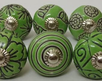 Sea Green Color Ceramic Knobs Kitchen Cabinet Knobs Vintage Door Knobs Lot of 10