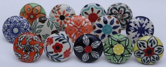 Multicolor Flower Design Ceramic Knobs Kitchen Cabinet Drawer Etsy