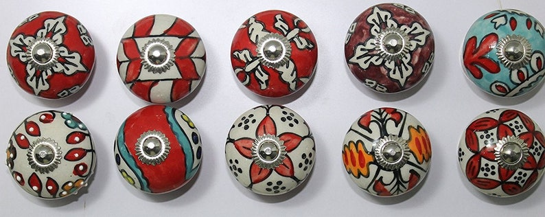 Ornated Red Ceramic Door Handpainted Ceramic Door Knobs Kitchen Cabinet Knobs Handmade Knobs