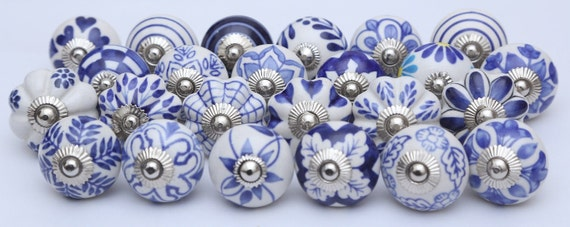 Assorted Blue And White Ceramic Knobs Ceramic Door Knobs | Etsy