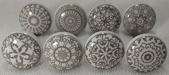 Grey White Ceramic Knobs Kitchen Cabinet Drawer Knobs Etsy