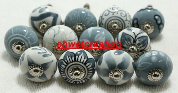 Grey /& White Handpainted Ceramic Knobs Kitchen Cabinet Drawer Knobs