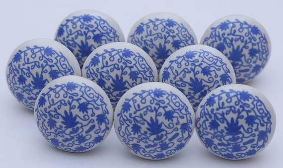 Blue And White Ceramic Knobs Ceramic Door Knobs Kitchen | Etsy