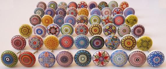 Assorted Flat Ceramic Knobs Multicolor Multidesign Ceramic Etsy