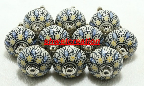 Multicolor Emboss Ceramic Door Knobs Handpainted Kitchen Cabinet Drawer Knobs Hardware Knobs Drawer Handles Decorative Ceramic Knobs Code 24