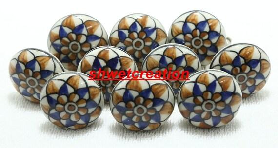 Multicolor Ceramic Door Knobs Handpainted Kitchen Cabinet Drawer Knobs and Pulls Hardware Knobs Drawer Handles Decorative Ceramic Knobs 04