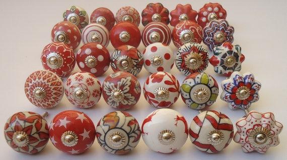 Assorted Red Ceramic Door Knobs Handpainted Kitchen Cabinet Drawer Pulls