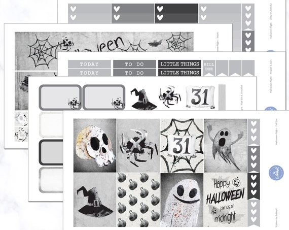 Halloween Night Weekly Kit | October Weekly Kit | November Weekly Kit | Halloween Planner Stickers   Erin Condren Planner Weekly Kit by Etsy