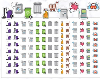 110 Housework Planner Stickers   Cleaning Stickers   Laundry Stickers   Spray Stickers   Vacuum Stickers   Recycle Stickers   Car Wash
