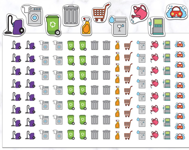 110 Housework Planner Stickers  Cleaning Stickers  Laundry image 0