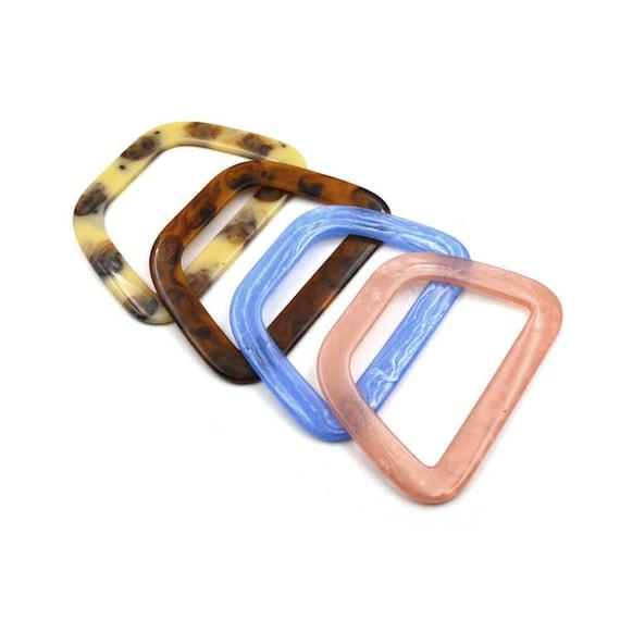 12.5cm x 9.5cm rounded D style acrylic bag handle Reddish tortoiseshell color JB009B