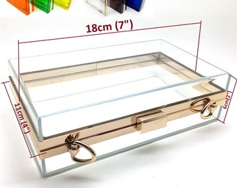 "Hot sales 18cm x 11cm ( 7"" x 4"" ) transparent acrylic minaudiere box clutch, finished & DIY kit are both available #L51A"