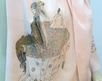 1920s silk scarf shawl handpainted Pierrot Pierette