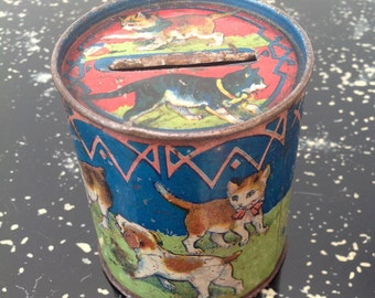 Charming 1920s money box tin with cats and dogs vintage antique