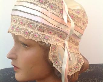1920s boudoir hat cap vintage antique flapper