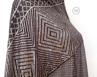 Spectacular 1920s Assuit shawl scarf  Art Deco Egyptian geometric silver metal vintage antique