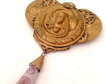 1920s brooch pendant Egyptian Revival Pharaoh scarab snake Neiger vintage antique