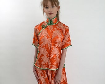 3593fe690c40 SOLD please do not buy second layaway payment 1930s beach pyjamas in silk  with tropical palm frond print deadstock vintage antique