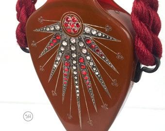 Rare 1920s reticule minaudiere purse celluloid and diamanté bag flapper Art Deco antique vintage