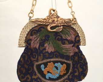 1920s celluloid frame bag purse beaded vintage antique dragon mythical creature