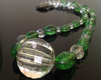 1930s necklace beads green and clear glass vintage Art Deco
