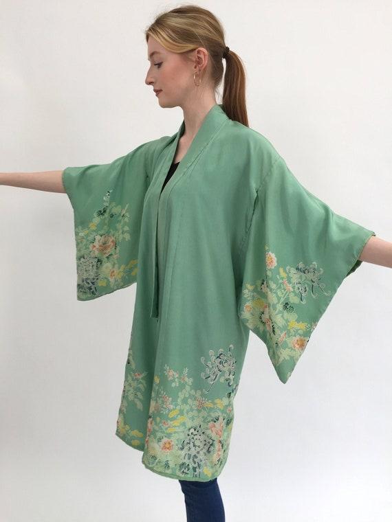 1920s kimono green silk vintage antique