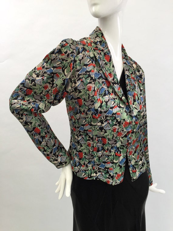 1930s jacket novelty print in liquid satin vintage
