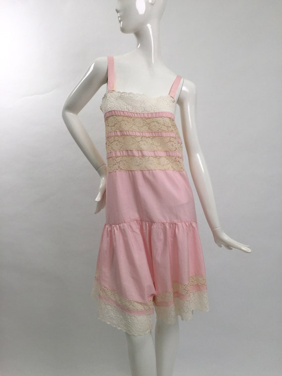 1920s teddy step in cotton and lace all in one vin