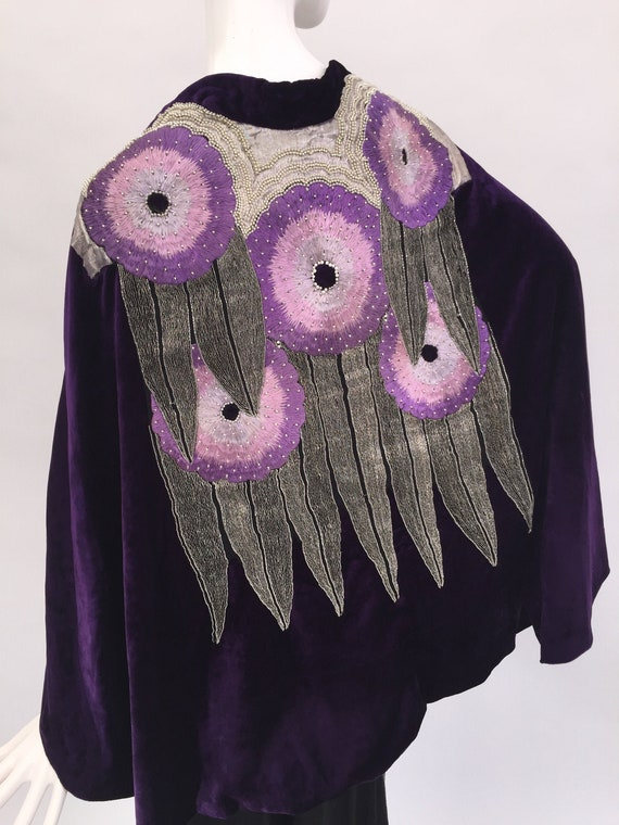 1920s velvet cape with beadwork, silver metal lace