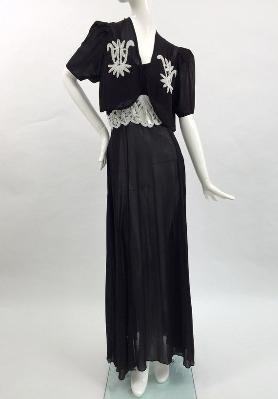 1930s beaded chiffon dress and jacket vintage anti