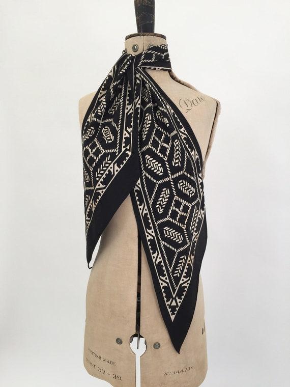 1930s silk scarf geometric Art Deco design vintage