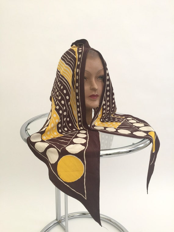 1930s silk head scarf vintage Art Deco antique sil