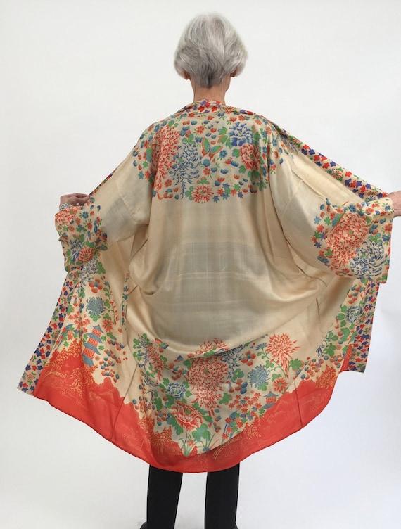 1920s raw silk robe kimono butterflies pongee vint