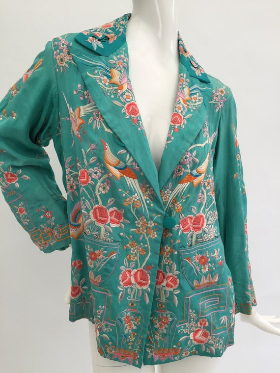 1920s silk jacket Chinese embroidered vintage anti