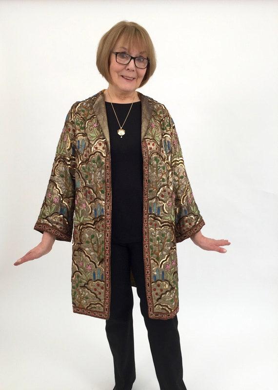 1920s lamé evening coat Margaine Lacroix beaded an