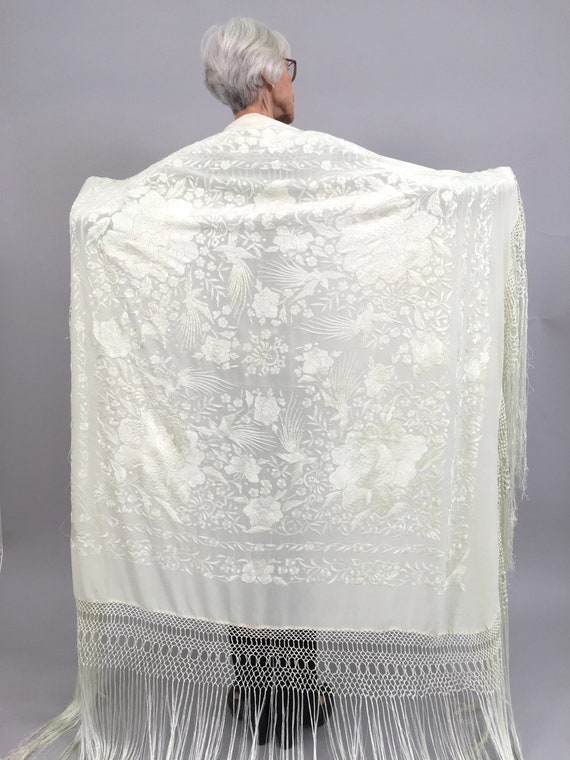 1920s shawl embroidered vintage antique