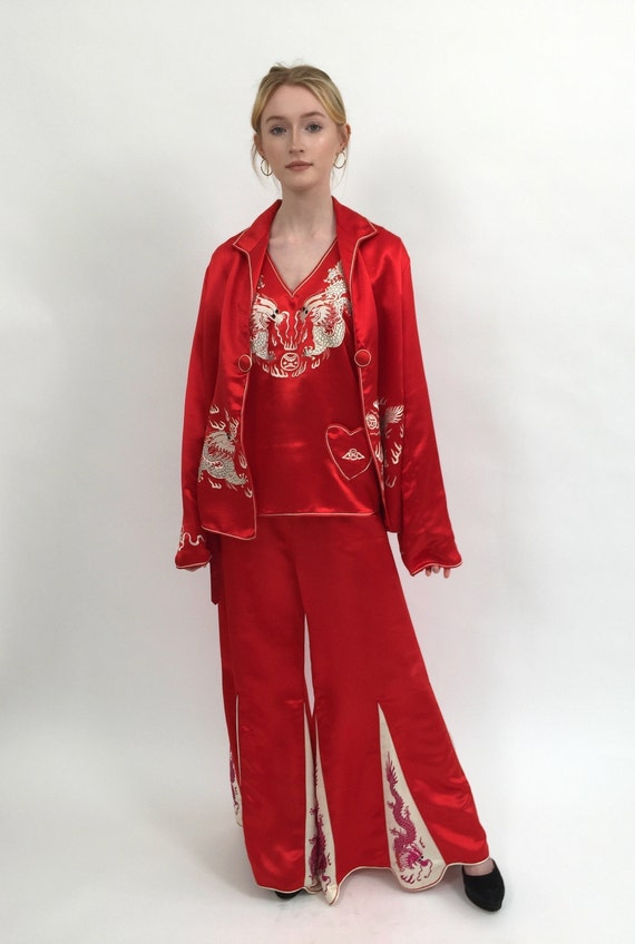 1920s pyjamas silk three piece set vintage antique