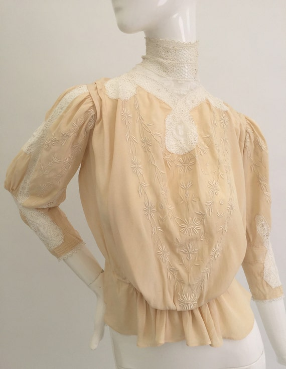 Antique Edwardian blouse silk embroidered crochet